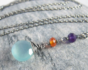 Chalcedony Necklace, Aqua Blue, Gemstone Carnelian Amethyst Pendant, Oxidized Sterling Silver, Long Charm, Boho Jewelry