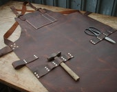Leather Work Apron, top pocket plus tool loops