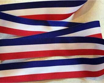 1.5 Inch Grosgrain Ribbon 2 Yard Lots Patriotic Red WHITE BLUE CHEER Holiday Cheerleader