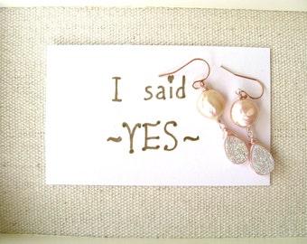Pearl Earrings Pale pink druzy earrings Wedding jewelry Under 75 VitrineDesigns