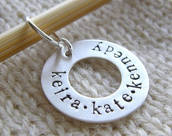 """Personalized Knitting / Crochet Stitch Markers - Hand Stamped Sterling Silver Markers - 1"""" Washer in 6 Styles - Knit Notions and Gifts"""