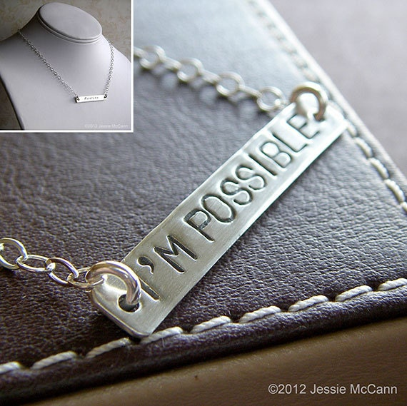Custom Necklace - Personalized Sterling Silver Hand Stamped Charm Jewelry - 1.5 Inch Bar Connect Necklace (for Double-side Stamping)