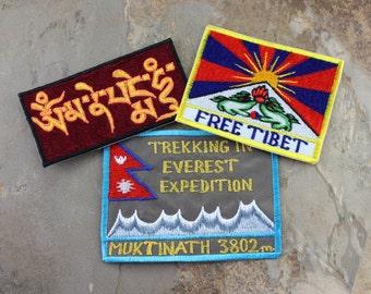 Set of Three Tibet Everest Nepal Patches