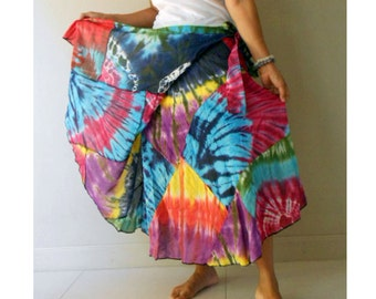 Sale Boho Hippie Rainbow Tie Dye Cotton Patchwork Circle Summer Beach Casual Wrap Skirt  (TK12)