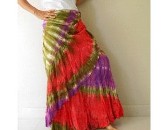 Red Purple Olive  cotton boho gypsy hippie summer long ruffle wrap skirt S-L (TD 12)