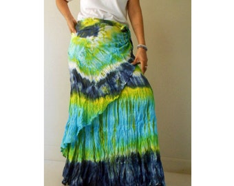 Boho Hippie Gypsy Green Blue Tie Dye Cotton Long Ruffle Circle Wrap Skirt S-L (TD 42)