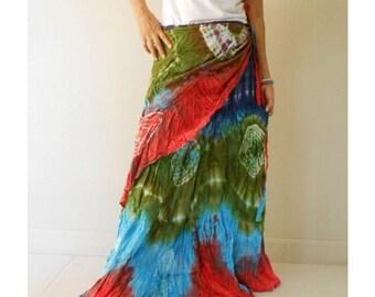 Colorful  Boho Hippie Gypsy Tie Dye Cotton Maxi Funky Long Ruffle Wrap Skirt S-L (TD 45)