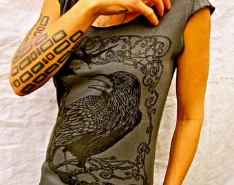 Raven Crow Tshirt Grey Bird Gothic, Gift for her, Yoga Apparel. Cool Bird. Nevermore, Jersey Cotton Sizes Sm M L XL