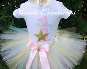 Baby Girl Birthday Outfit - Twinkle Twinkle Little Star Tutu Set - Gold, Mint and Pink