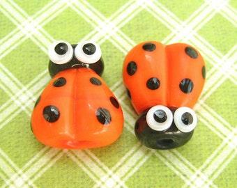 2 Glass Ladybug Beads, Lampwork Ladybug Beads, 14mm Beads, Orange Ladybug, Orange Ladybird, SRA Handmade Lampwork, DIY Jewelry - M