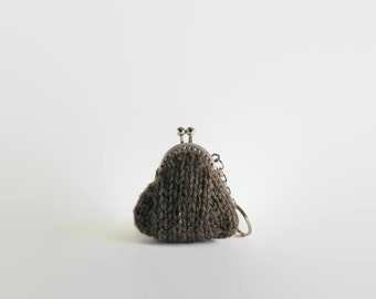 Taupe Gray Wool Hand Knitted Kiss Lock Coin Purse Key Chain, Pouch, Clasp Money Holder, Gifts for Her, Ready to Ship, Gifts Under 15