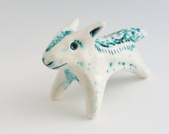 White Wolf Ceramic Totem