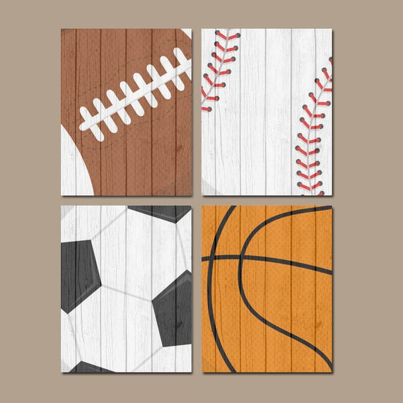 Wall Decorations Sports : Sports wall art canvas or prints distressed wood effect baby