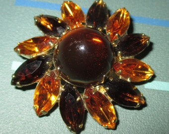 Last Call......Vintage FAB Brown and Amber Faceted Rhinestone and Glass Cabochon Flower Motif Pin