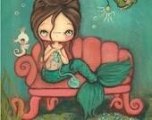 Mermaid Print Nautical Art Girl Seahorse Children Wall Art Decor---The Knitting Mermaid