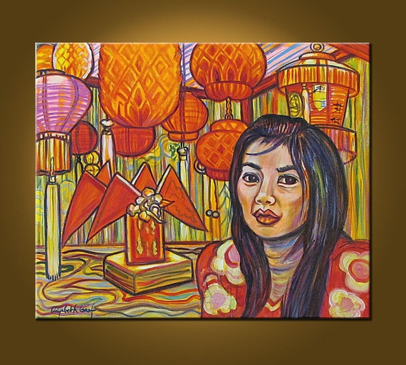 RESERVED for JENNA - The Chinese Shop -- 20 x 24 inch Original Oil Painting by Elizabeth Graf on Etsy, Art Painting Art Collectibles