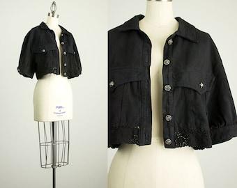 90s Vintage Black Rose Button Cropped Denim Jacket / Crochet Lace Trim / Size Medium