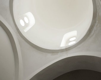 """Greece photography white gray modern minimal abstract architecture wall art print  """"White Dome"""""""