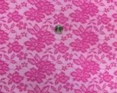 hot pink faux lace on cotton Lycra  knit fabric 1 yard