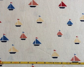 Sailboats primary colors on cream 100% cotton jersey knit fabric 1 yard