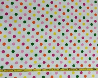 NEW Tutti fruity dots on cotton Lycra  knit fabric 1 yard