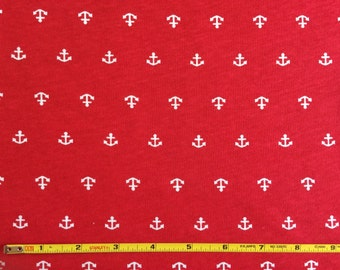 White anchors on red 100% cotton jersey knit fabric 1 yard