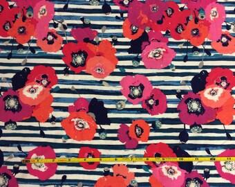 NEW Art Gallery paparounes crimson collection on cotton Lycra  knit fabric 1 yard