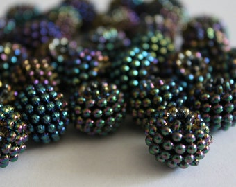 Acrylic berry beads - black AB 15mm (6)
