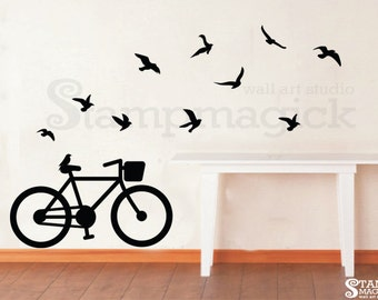 Flying Birds Wall Decal with bicycle - Bicycle Wall Decal - Bike Vinyl Wall Art Graphics Decor - K212