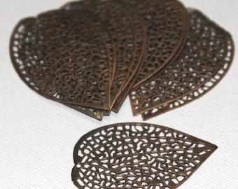 40 pcs of antiqued Copper finished filigree leaf focal 36 X24mm