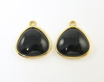 Black Triangle Earring Drops - Black Gold Teardrop Pendant Charms for Jewelry Making Dangle Earring Findings  BL1-16 2