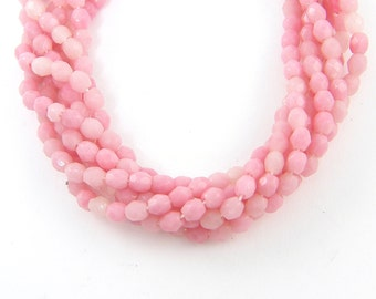 3mm Pink Faceted Round Czech Glass Beads |P2-17|1