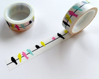 Birds On A Wire Washi Tape • Birds On Wire Decorative Tape • Birds Tape • Craft Supply • Scrapbooking • Card Making • Paper Crafts (029250)
