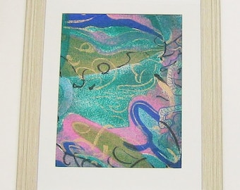 Framed Art Fabric Picture Green Blue Gold Pink Print