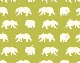 Bear Hike Grass Organic Cotton Fabric Bear Camp, Green Bear Fabric
