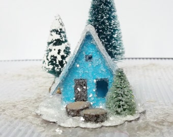 Vintage Putz Style Miniature Blue Glitter Sugar House with Pine Tree for your Christmas Village or Tree Ornament can be Lighted