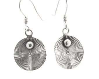 Sterling Silver Waved-Disk Drop Earrings with Radiating Stripes and Circles (E97)