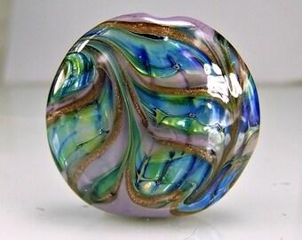 Glass Lampwork Focal Bead  Pale Purple Blue Green  Goldstone