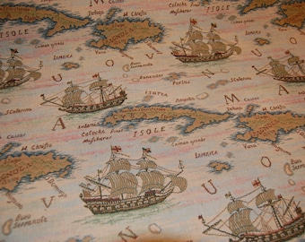 Vintage Map Decorator Weight Fabric ~ Woven ~ By the yard