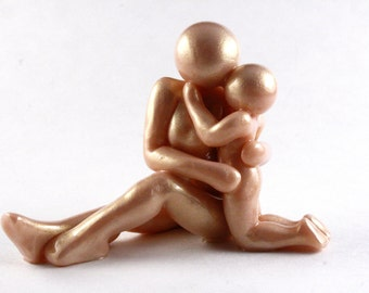 Mother and Child sculpture - handmade clay motherhood figurine with mom and son or daughter - made to order