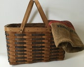 vintage Franklin Cane Sugar split oak woven basket