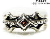 Silver Fairy Princess Engagement Ring Gothic Red Garnet Size 7