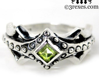 Fairy Princess Silver Engagement Ring Green Peridot Stone Size 6