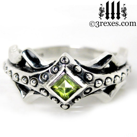Fairy Princess Silver Engagement Ring Green Peridot Stone Size 6