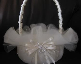 Tulle and Pearl Flower Girl Basket