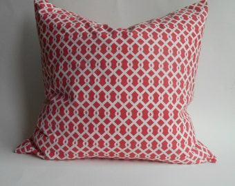 "Coral trellis pattern pillow cover 20"" x 20"""