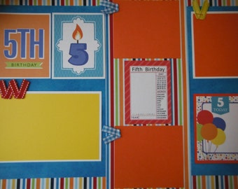 Happy 5th Birthday 2 Premade 12x12 Scrapbook Pages for Family Girl Boy Daughter or Son