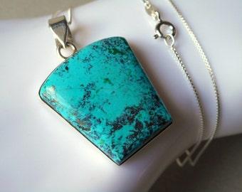 Azurite Necklace - natural pendant necklace - azurite gemstone - minimal - 925 sterling silver - blue gemstone necklace - modern - simple