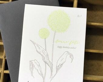 letterpress birthday allium card