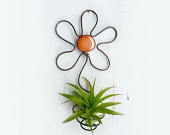Air Plant Holder- Flower Wall Hanging with Orange Glass Bead